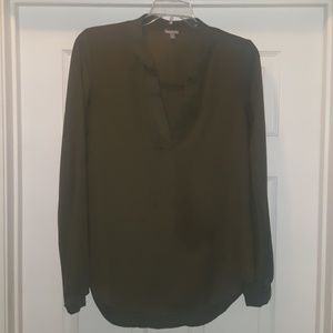 Olive green polyester long sleeve